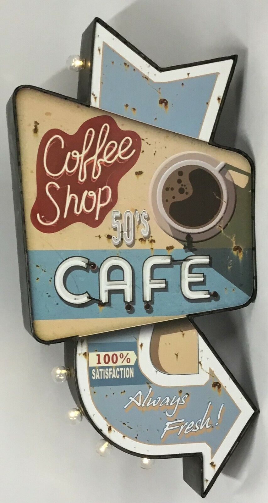 Retro Americana Cafe & Beer led signs, 2 Designs, Distressed Metal,