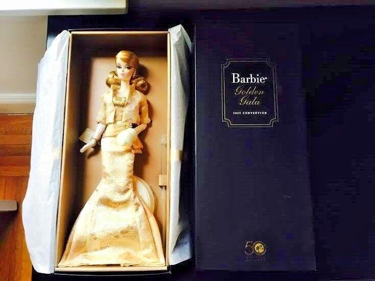 Nunca quitado de la Caja 2009 oroen Gala Silkstone Silkstone Silkstone Muñeca Barbie 50th aniversario convención  Web oficial
