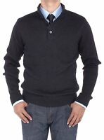 Luciano Natazzi Men's Mock Neck Ribbed Sleeve 1/4 Button Sweater Relaxed Fit 4XL