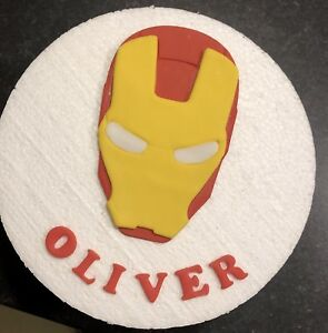 Image Is Loading Edible Handmade Sugar Iron Man Personalised Birthday Cake