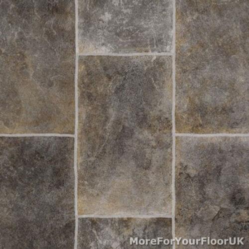 Grey Rectangle Tile Vinyl Flooring Slip Resistant Lino 4m Cushion