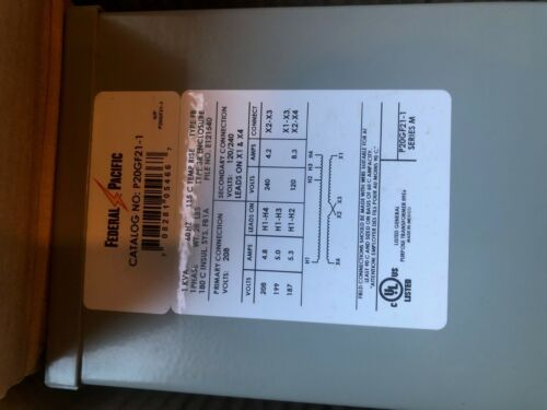 Details about  /FEDERAL PACIFIC P20GF21-1 ISOLATION TRANSFORMER FT0423