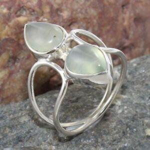 Handmade-Prehnite-Gemstone-Solid-925-Sterling-Silver-Ring-Jewelry