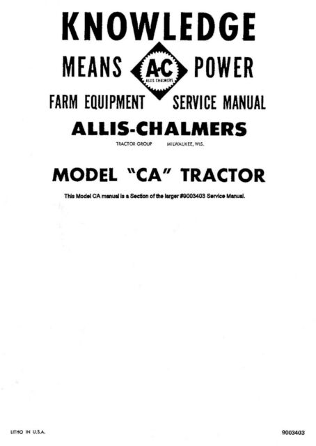 Allis Chalmers G Tractor Service Manual # 9003403