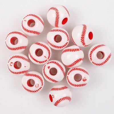 80pcs Wholesale NEW Red Baseball Ball Charms Acrylic Spacer Beads Findings L