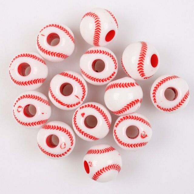 80pcs 112769 Hotsale Red Baseball Ball Charms Acrylic Spacer Beads Findings