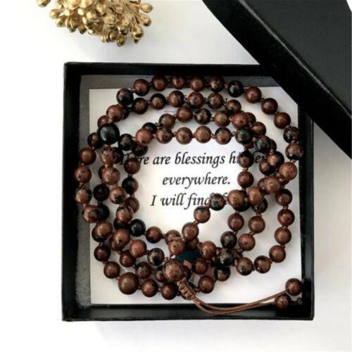 Genuine Mahogany Obsidian Gemstone Tapered Necklace Bracelet /& Earrings Gift Set