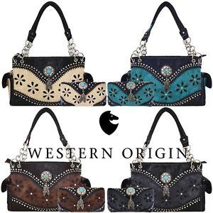 94db1c1d1c51 Details about Western Purse Laser Cut Tooled Leather Country Handbag Women  Shoulder Bag Wallet