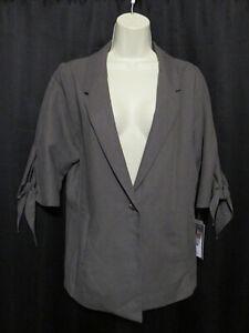NWT-Lola-amp-Sophie-Blazer-Jacket-Linen-Lyocel-Blend-Taupe-Boutique-Label-Size-L