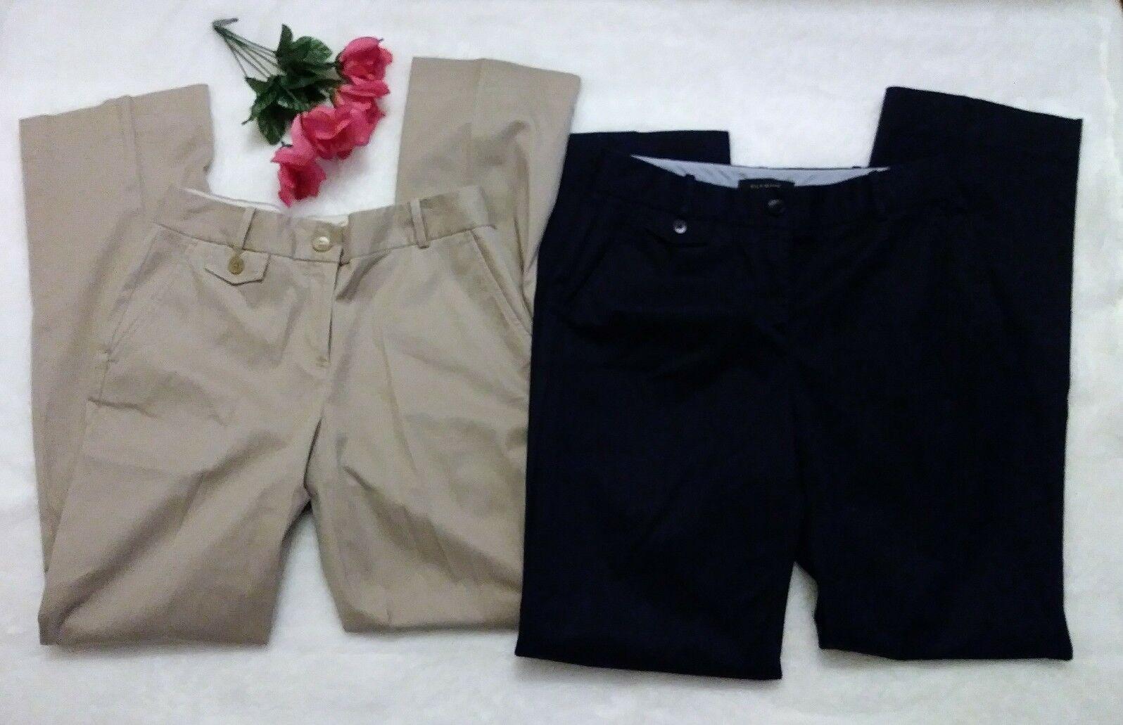 TALBOTS Lot x 2 Curvy Fit Khaki Beige & Navy bluee Stretch Twill Pants Size SZ 2