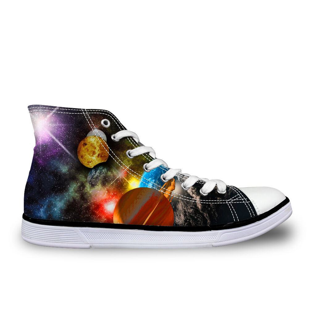 Galaxy Planet Hi Tops Canvas Trainers shoes Flat Lace Up Sneakers Mens Boys Pump