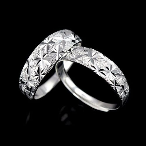 18K White Gold Filled Rings Adapter Band Gold Filled Zircon hommes//femmes couple mariage bijoux