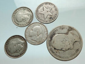 GROUP-LOT-of-5-Old-SILVER-Europe-or-Other-WORLD-Coins-for-your-COLLECTION-i75639