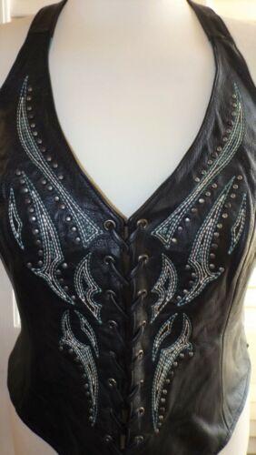 Harley Davidson Women Black Leather Vest Halter To