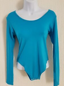 Womens-Long-Turquoise-Sleeve-Stretch-Bodysuit-Ladies-Body-Top-Tshirt-Size-S-M