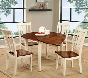 white cherry finish wood round kitchen dining table set w drop leaf