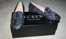 J.CREW COLLECTION DARBY SEQUIN LOAFERS SIZE 6M BLACK