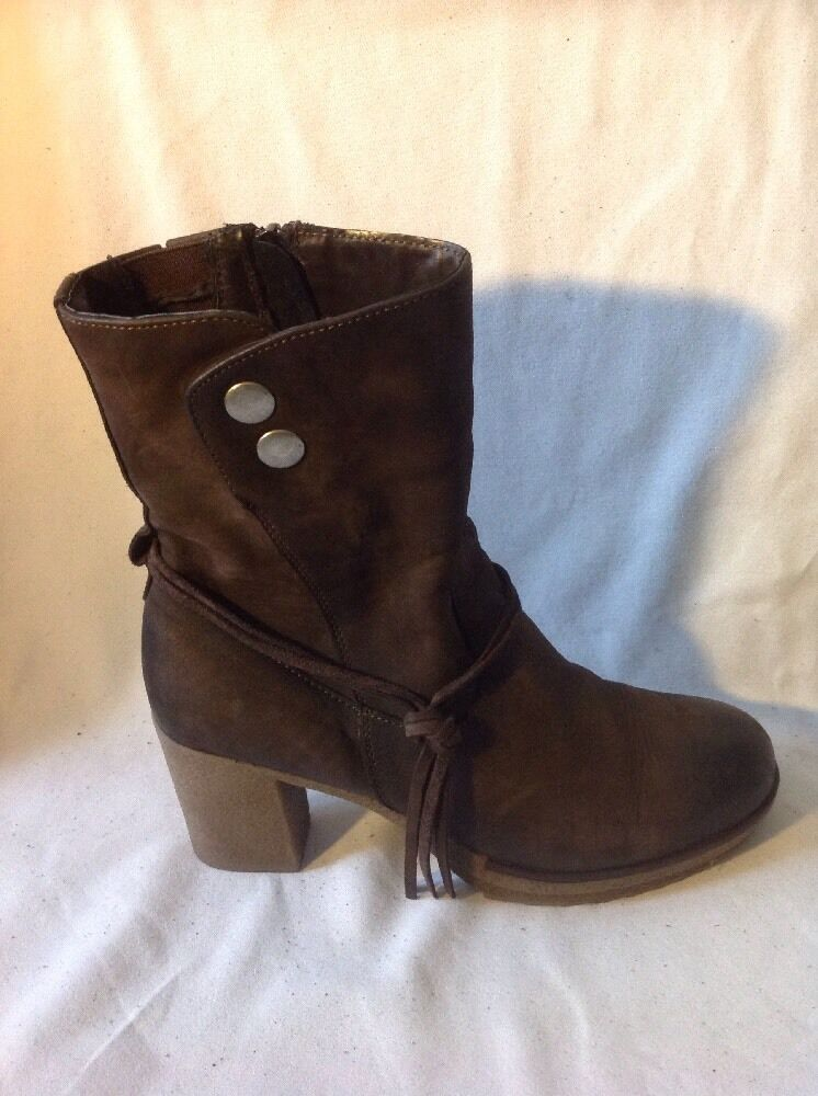 STEISI Brown Ankle Leather Boots Size 37