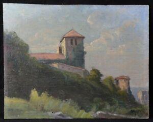 Schule-Franzoesisch-Sicht-eines-Kloster-Ol-Unterzeichnet-Post-Impressionismus