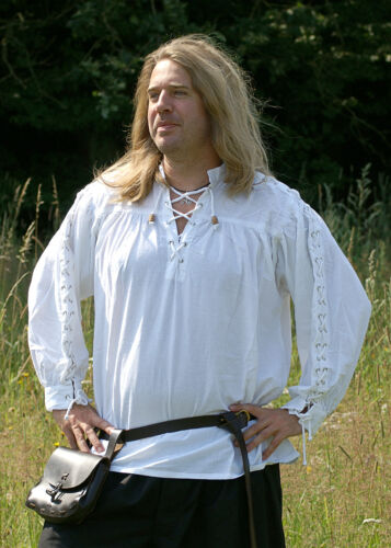 Mittelalter-Hemd, geschnürt, weiß, LARP Gewandung Kleidung Piratenhemd Wikinger