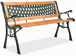 Fantastic Details About Garden Park Bench Backrest Seat Arm Chair Patio Yard Furniture Outdoor Wood Iron Ocoug Best Dining Table And Chair Ideas Images Ocougorg