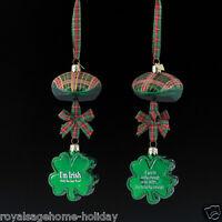 Nb0944 Noble Gems Irish Hat Cap Shamrock Glass Ornament Lucky Luck 4-leaf Clover