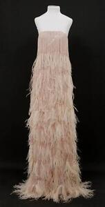Oscar-De-La-Renta-Blush-Pink-Fringe-amp-Feather-Strapless-Gown