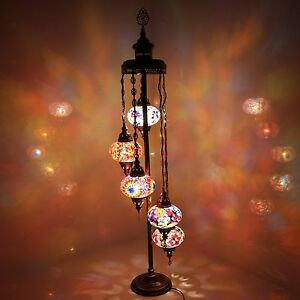 Turkish Morrocan Hand Made Multicolour Mosaic Floor Lamp