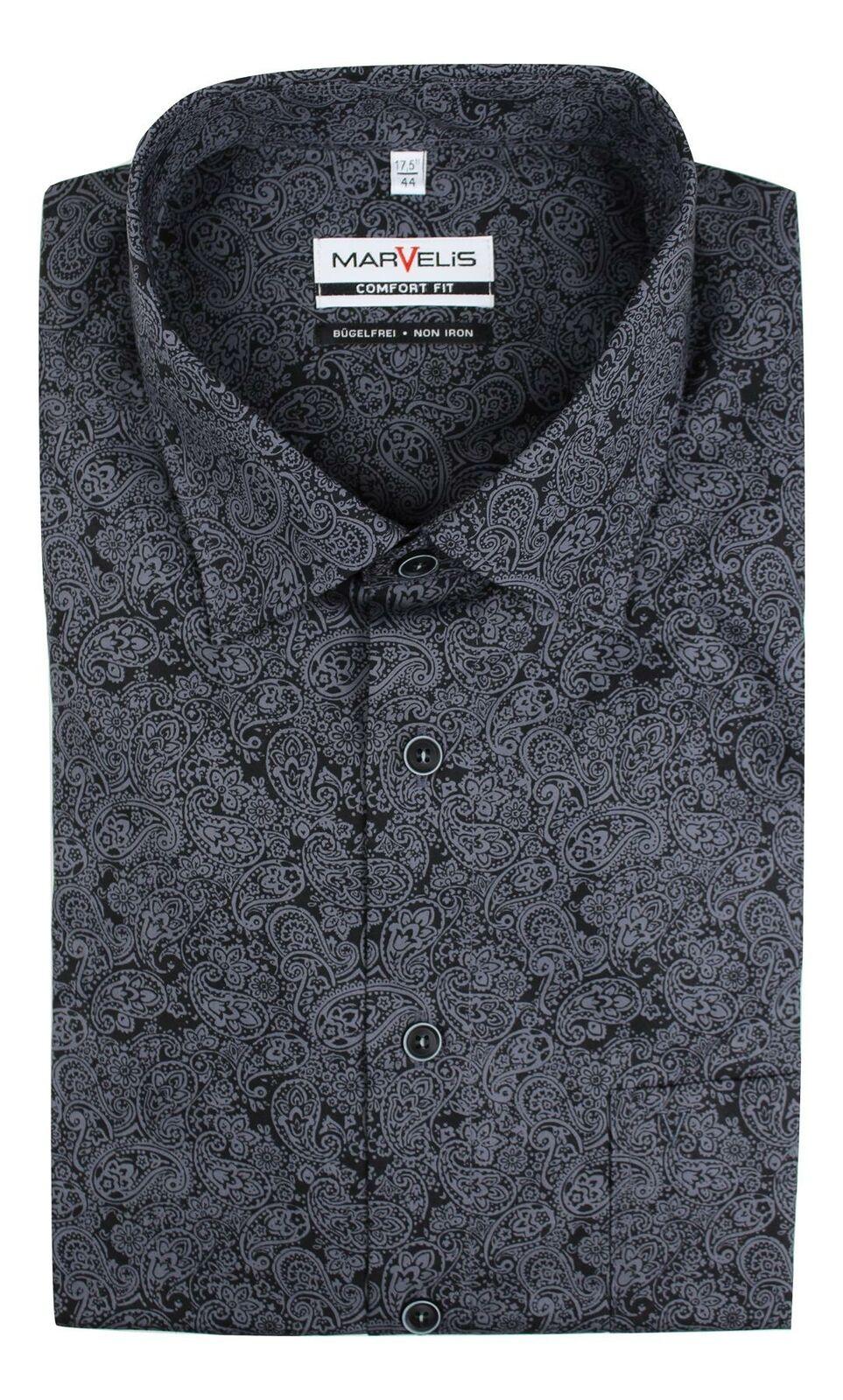 Black Mix Paisley Spread Collar