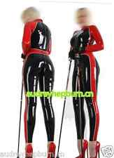 100% Latex Rubber Anzug Tights Suit Black and Red Ganzanzug Catsuit Size XS-XXL