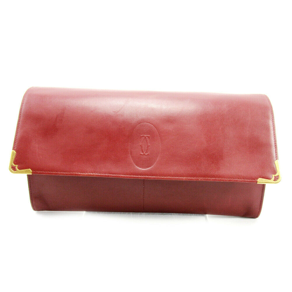 Cartier Clutch Bag Must Line Bordeaux  Leather  Used Auth T10297  official website