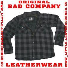 ChaCHa Bad Company Leather Aramid Holzfäller Hemd GrauSchwarz Motorrad Jacke XL