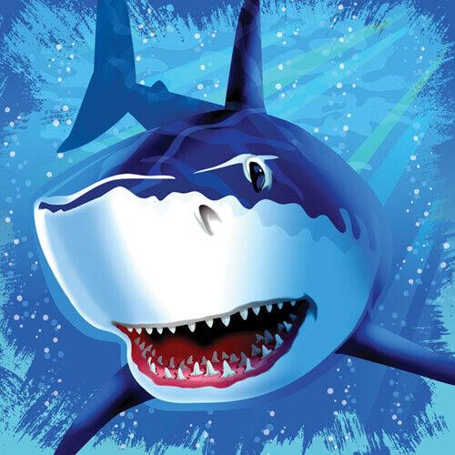 SHARK SPLASH LUNCH NAPKINS ~Birthday Party Supplies Dinner Large Serviettes 16