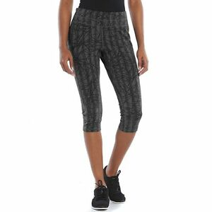 34504268a2b70 NEW Tek Gear Womens Athletic Capris Leggings Pants YOGA Crop Midrise ...