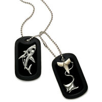 Real Shark Tooth Necklace Aluminum Dog Tag W/ Engraved Shark And Stingray Design
