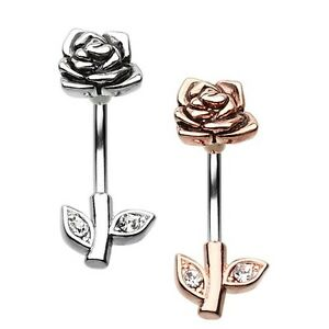 Details About Rose Gold Full Blossom Rose Belly Button Ring Silver Navel Sexy Clear Cz Dangle