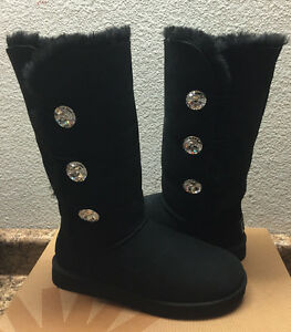 Image is loading UGG-EXCLUSIVE-BAILEY-BUTTON-BLING-BLACK-TRIPLET-TALL-
