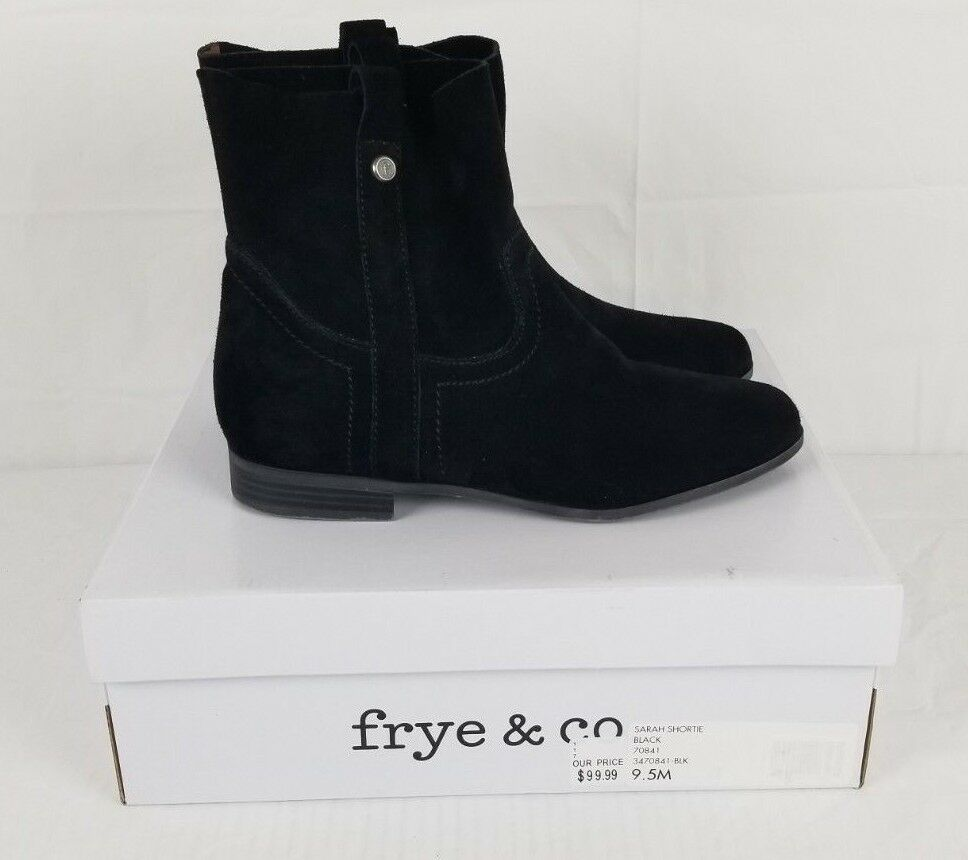 NIB Frye & Co. womens 9.5 pull-on M Sarah Shortie Black pull-on 9.5 Suede ankle boots 74ce47