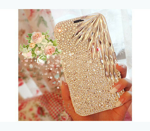 For Mobile Phones Bling Fashion Clear Feather Style Crystal Gem Hard Case Cover