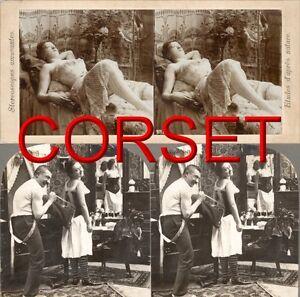 Vintage-mode Technik & Photographica Gehorsam 20 Stereofotos Damen Eng Geschnürt In Alten Korsetts Mieder Corset Victorian