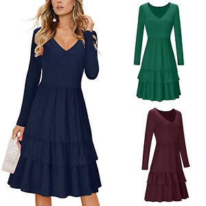 Women-039-s-V-Neck-Long-Sleeve-Casual-Maxi-Loose-Dress-Cocktail-Evening-Party-Dress