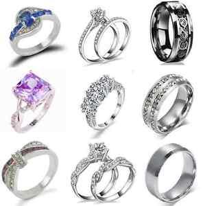 SZ 6-12 Unisex Stainless Steel Crystal Ring Men/Women's Wedding Band Gift TR