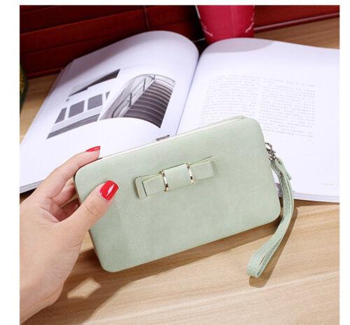 Damen Geldbörse Süß Leder Portemonnaie Handy Handtasche Geldbeutel mit Schlaufe