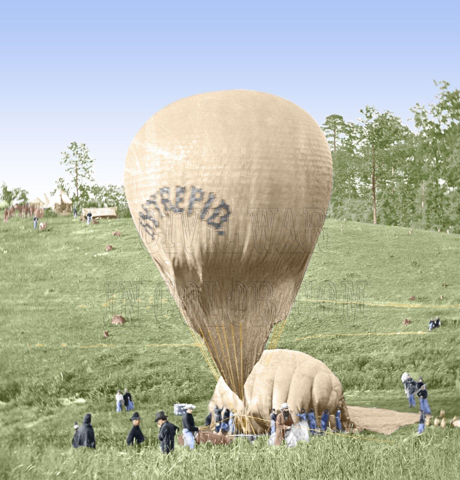 Balloon Professor Lowe Intrepid Constitution Farbe Tinted photo Civil War 01563
