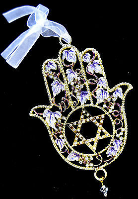 Enameled Jeweled wall hanging Hamsa with Star of David Clear stones.israel