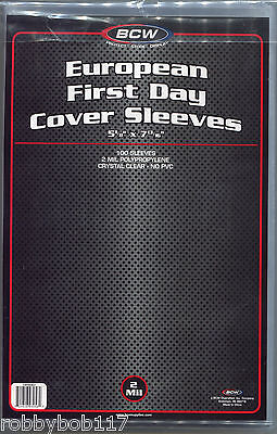 """PACK 100 European FIRST DAY COVER SLEEVES Protectors Stamps Envelope 5/"""" x 7¼/"""""""