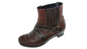 on sale a3ea8 602ec Details zu RIEKER Biedermeier Stiefeletten Budapester Leder braun 37 UK 4  Winter Schuhe