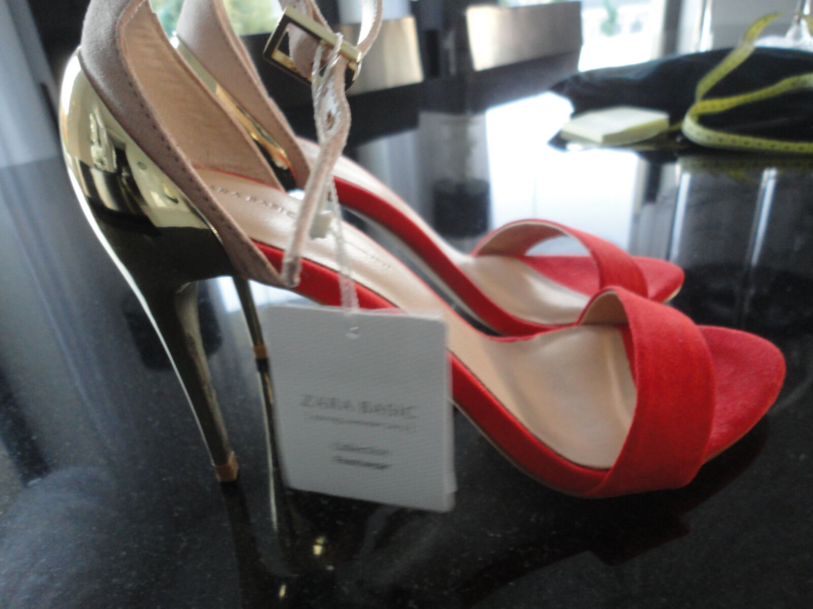 Zara Leder Rot Gold  High Heels Pumps Gr. 37