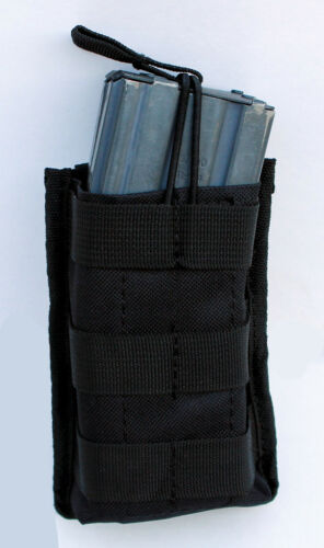 MOLLE SINGLE STACKER OPEN TOP MAG POUCH BLACK COLOR RIFLE MAG POUCH