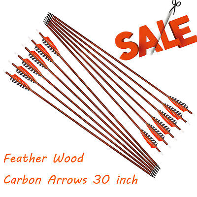 30inch Feather Carbon Arrows Wood Camo Shaft SP400 Traditional Bow Shooting